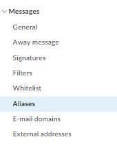 alias for sending emails: step 2