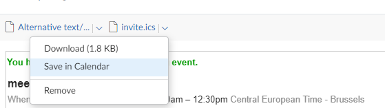 add meeting invitation on Mailfence Calendar: step 1