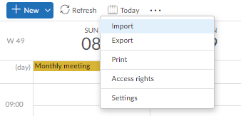import data account, calendar events: step 2