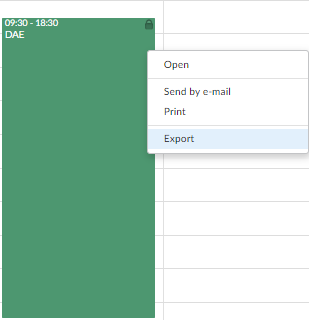 exporting calendar events