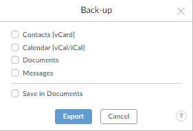 export data from mailfence: step 3