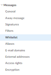 spam folder, whitelist: step 2