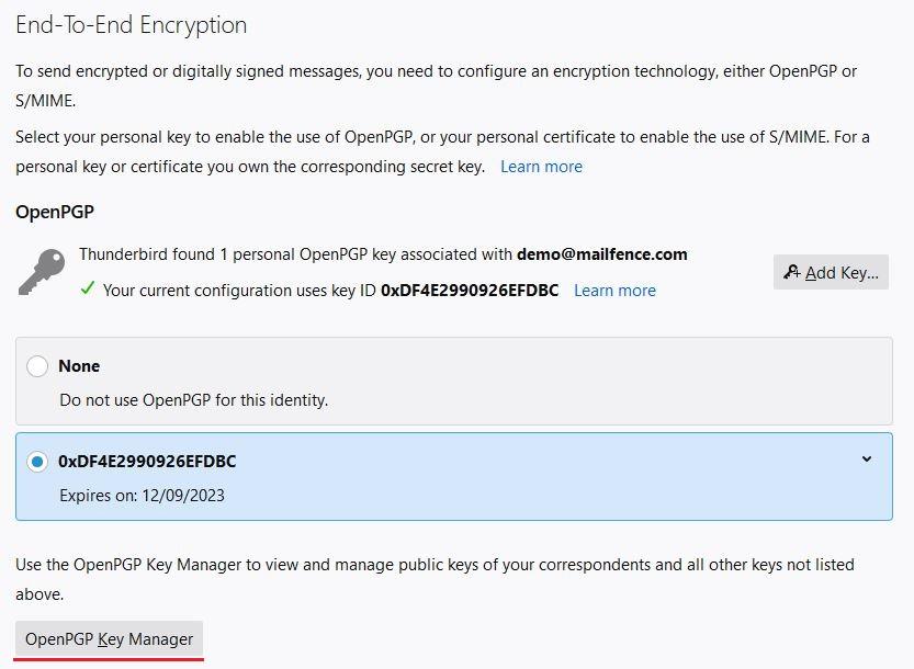 import Thunderbird OpenPGP public key