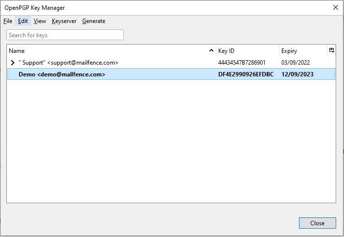 Thunderbird OpenPGP keypair export