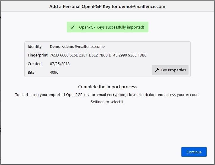 Thunderbird OpenPGP keypair