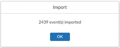 Mailfence number of events imported