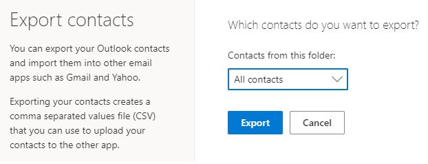 Migrate contacts to Mailfence Export contacts Hotmail