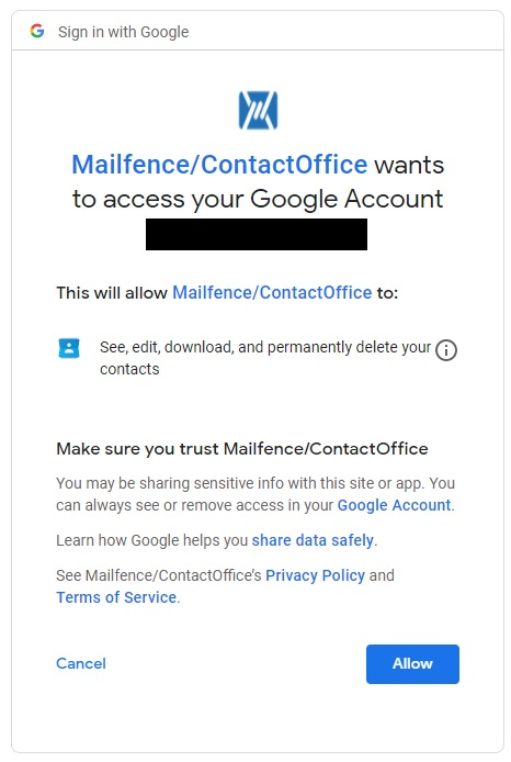 Access to Google Account for Mailfence